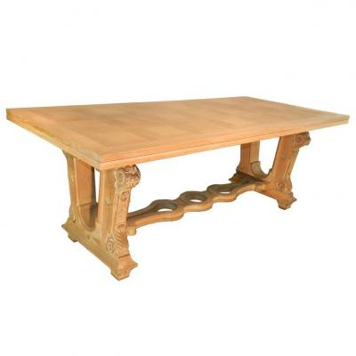 Large Table Art Deco 1940 In Oak Bleached, Finely Carved