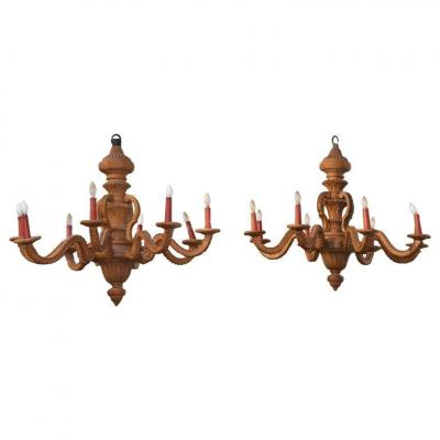 Pair Of Large Chandeliers Wood 8 Lights Circa 1920/1930
