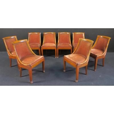Suite De 8 Chaises De Style Restauration En Merisier , Pieds Gaines à Griffes