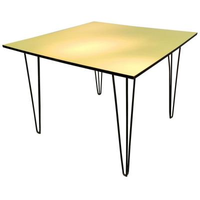 Lacquered Iron Table, Covered Laminate Tray Circa 1950