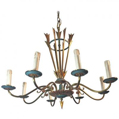 Chandelier Art Deco In Lacquered Metal And Brass Circa 1950