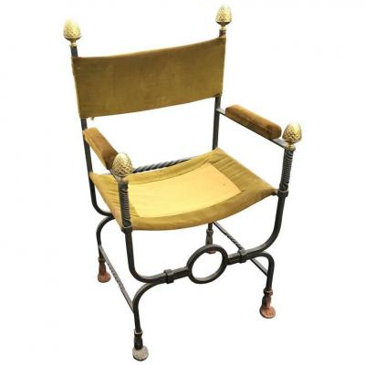 Old Curule Armchair In Wrought Iron And Brass Circa 1900/1920