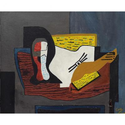 "Cano, ""composition"" Oil On Canvas Signed And Dated 1969"