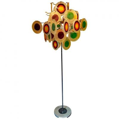 Italian Floor Lamp, Chromed Metal And Colored Plastic Tablets Circa 1960/1970