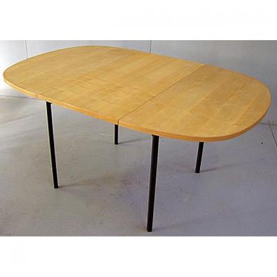 Table Vintage, En Chêne Clair Et  Métal Laqué Circa 1950