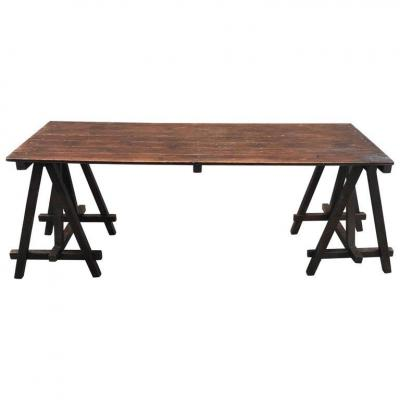 Old Large Trestle Table Circa 1930 Painted Wood