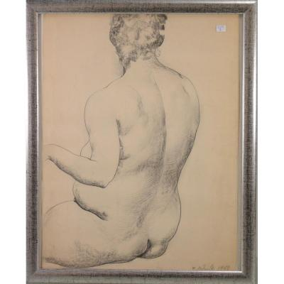 "Marcel Delmotte; ""nude"" Drawing From 1961, Signed, Well Framed"