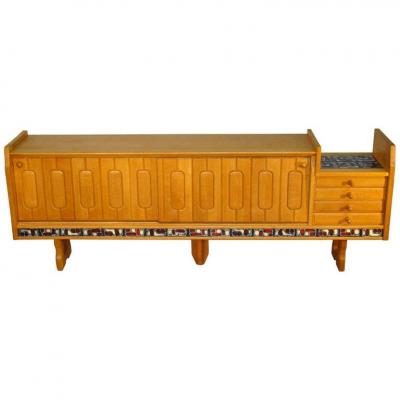 Guillerme And Chambron, Large Oak Sideboard Circa 1970