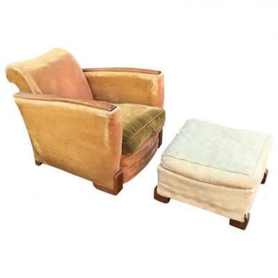 Elegant Armchair Art Deco Mahogany And Its Foot Rest Circa 1930