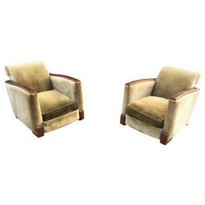 Pair Of Elegant Armchairs Art Deco Mahogany Circa 1930