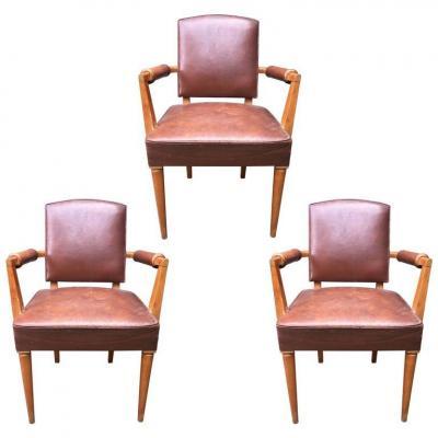 3 Bridges Leather Covered Armchairs, Art Deco Period, Circa 1940