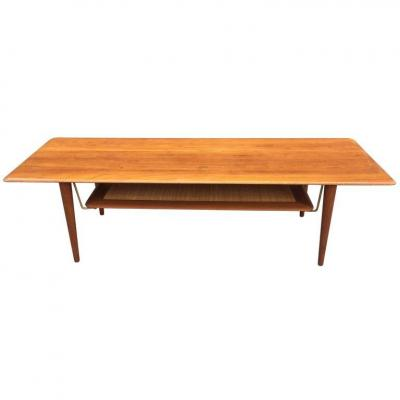 Peter Hvidt Grande Table De Salon Teck Danemark Circa 1950