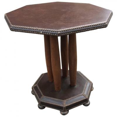 High Art Deco Leather And Oak Pedestal Circa 1930