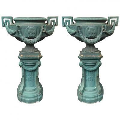 Paire d'Importantes Colonnes Et Vasques En Fonte Style Louis XVI , Début XX Eme