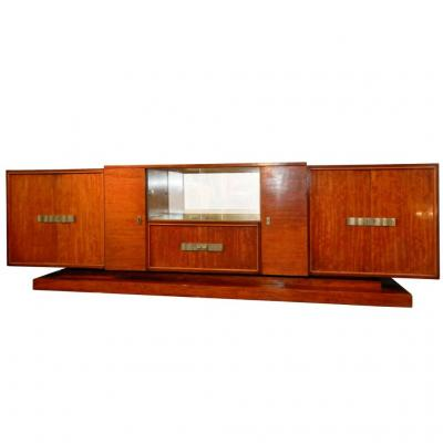 Decoene Freres, Very Large Sideboard Period Art Deco Mahogany Veneer Moire, 1930
