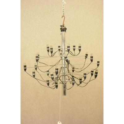 Lustre Design De Gino Sarfatti En Métal Chromé (ht.71cm, Diam.90cm)