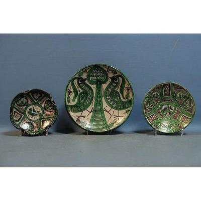 """Punter Domingo """", Three Ceramic Plates, Spain Circa 1960"""