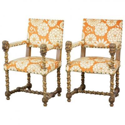 Pair Of Armchairs Style Louis 13 In Oak