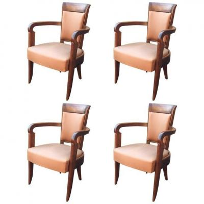 Baptistin Spade, 4 Armchairs Art Deco, From Steamer, Circa 1930, Signed