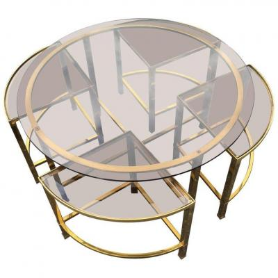 Table Salon And Its 4 Side Shelves In Brass And Smoked Glass, House Style Baguès, 1970