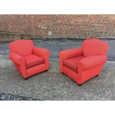 Pair Of Armchairs Art Deco Clubs Completely Redone