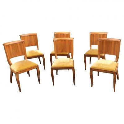Suite De 6 Chaises Epoque Art Deco En Noyer Circa 1930