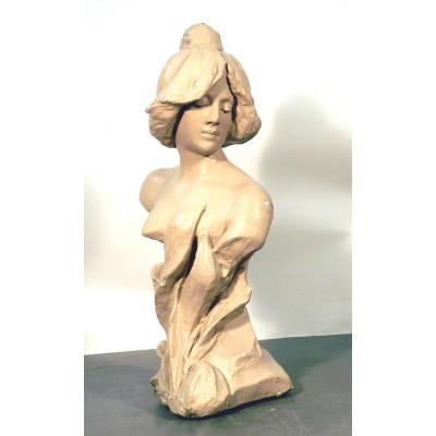 Bust Art Nouveau Period (58cm) Patinated Plaster, Circa 1900