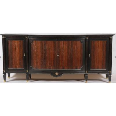 Art Deco Sideboard In Rosewood And Blackened Wood, In The Taste Of André Arbus, Circa 1940