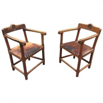 Pair Of Armchairs In Renaissance Neo Oak 1900/1920