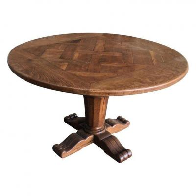 Table Gueridon Louis XIII Style Solid Oak, Circa 1950