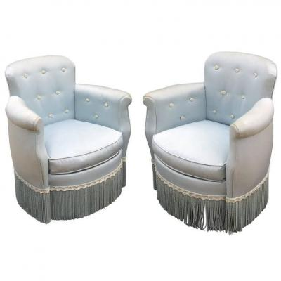 Pair Of Small Fires Art Deco 1940, In The Taste Of André Arbus