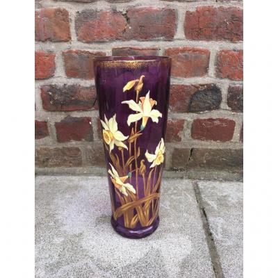 Vase Art Nouveau En Verre émaillé à Décor Floral Circa 1900