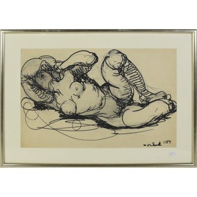 """Dessin au feutre de Marcel Delmotte """"Femme nue"""" signée et datée 1984 (46 x 31cm)"""