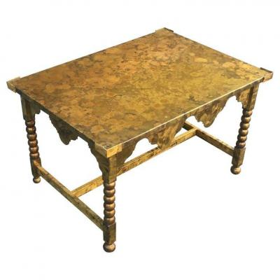 Art Deco Lounge Table In Oxidized Brass Circa 1940/1950