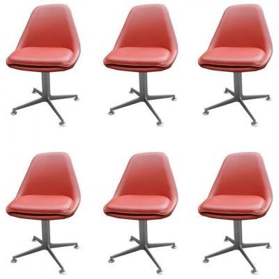 6 Chaises Pivotantes Style Eames Circa 1970