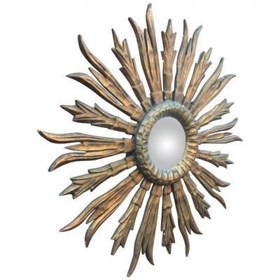 Ancien Miroir Sorciere En Bois Doré, Début XXeme