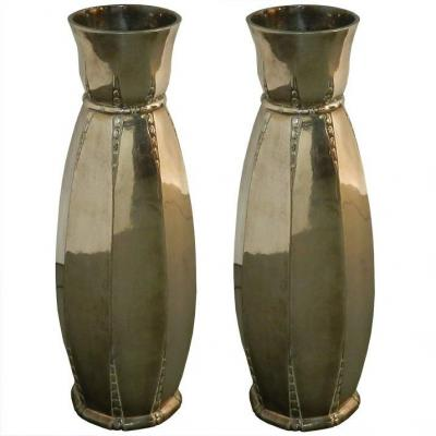 Galia, Pair Of Vintage Art-deco Vase In Silver Metal Circa 1930