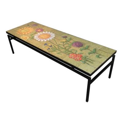 Very Large Living Room Table With Metallic Structure, Tiles Decor Flowers In Lava Enameled