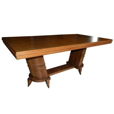 Table Art Deco 1930 In Rosewood Veneer + 2 Extensions
