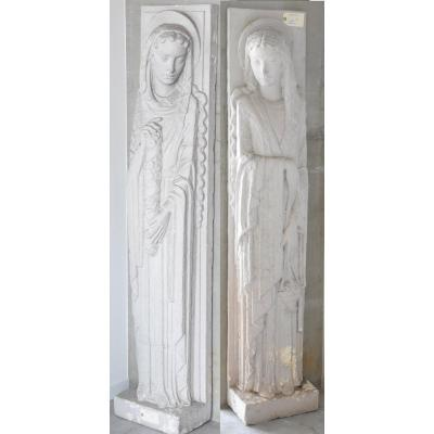 Two Large Statues (176cm) Art Deco Period In Painted Plaster Circa 1930