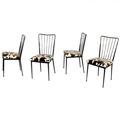 Suite De 4 Chaises  Dans Le Style De Colette Gueden , Circa 1960