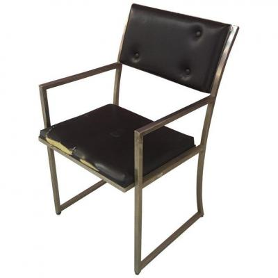 Guy Lefevre Steel Office Chair, Maison Jansen, Circa 1970