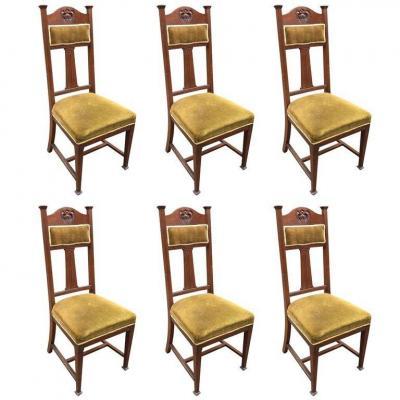 Six Chaises à Hauts Dossiers En Acajou Epoque Art Nouveau Circa 1900