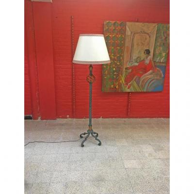 Art Deco Floor Lamp In Wrought Iron And Gilded In The Style Of Gilbert Poillerat, Circa 1940/1950