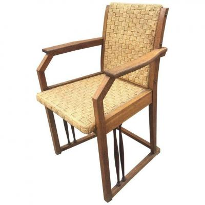 Hans Volmer For Prag-rudniker., Oak And Rope Armchair, Austria Circa 1900