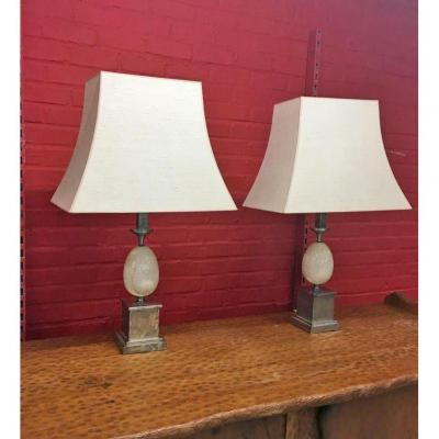Pair Of Elegant Lamps By Philippe Barbier, Nickeled Bronze And Travertine, Circa 1960/1970