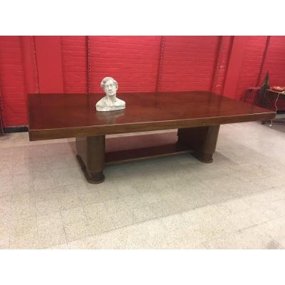Very Large Table Art Deco Mahogany And Plating Mahogany Circa 1930