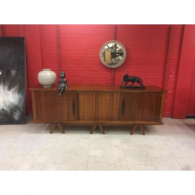Large Art Deco Buffet In Zebra Wood Circa 1940, In The Style Of Jean Royère