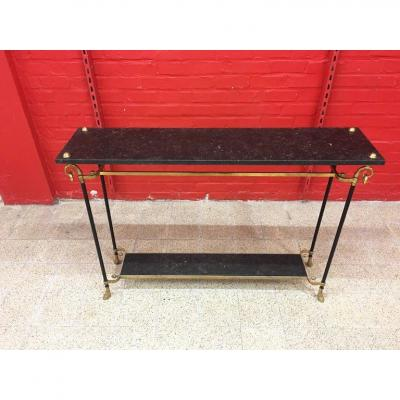 Maison Jansen, Elegant Console In Bronze, Brass And Black Marble Circa 1950