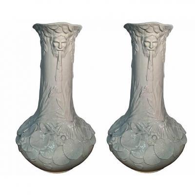 Paire De Grands Vases En Ceramique De Style 1900